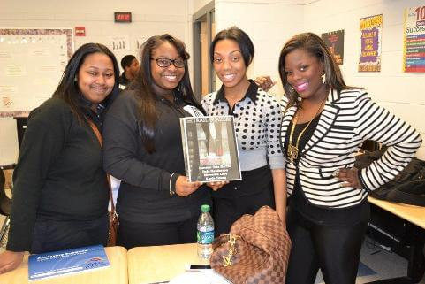 Teia Harris (right) and her mentoring team at Cass Technical High School.